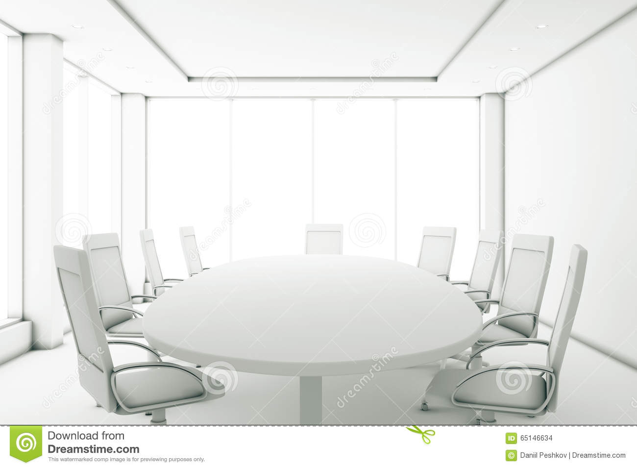 Completely White Meeting Room With A Round Table And Large Windo - Large white conference table