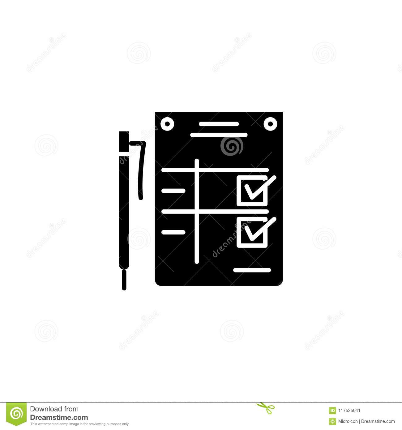 Completion Statement Black Icon Concept Completion Statement Flat
