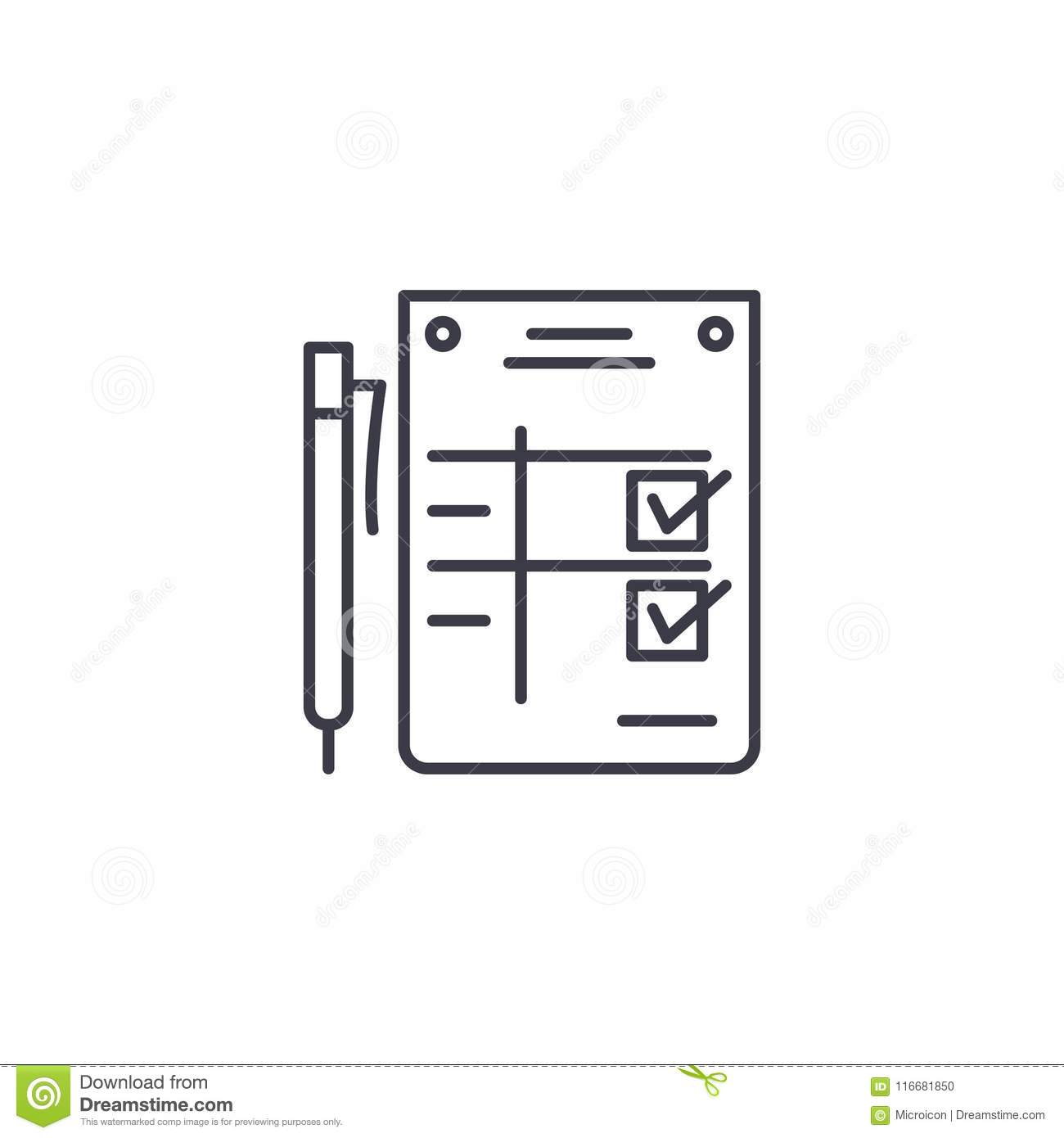 Completion Statement Linear Icon Concept Completion Statement Line