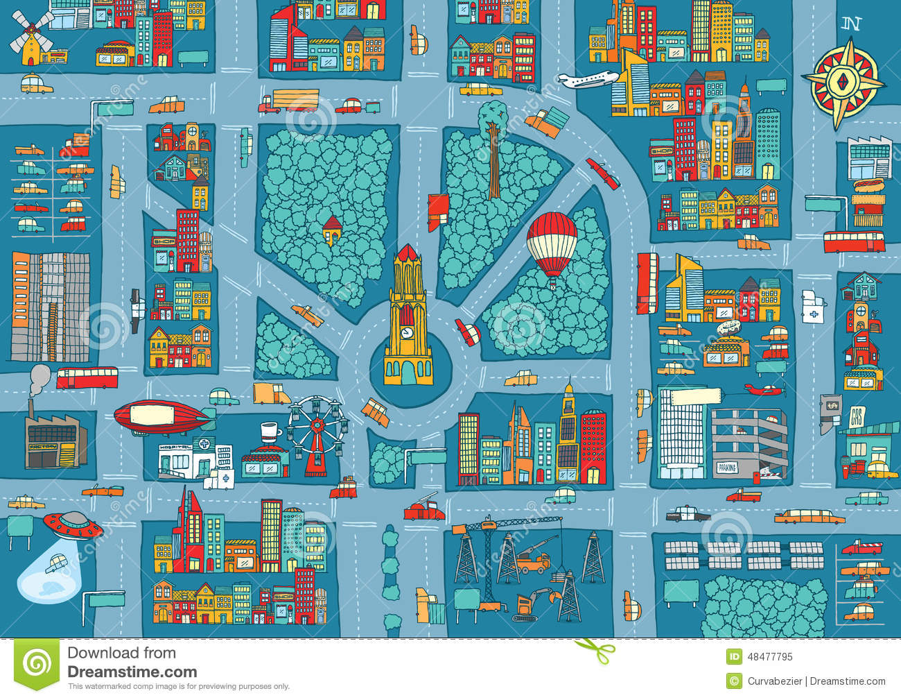 Complex busy city map