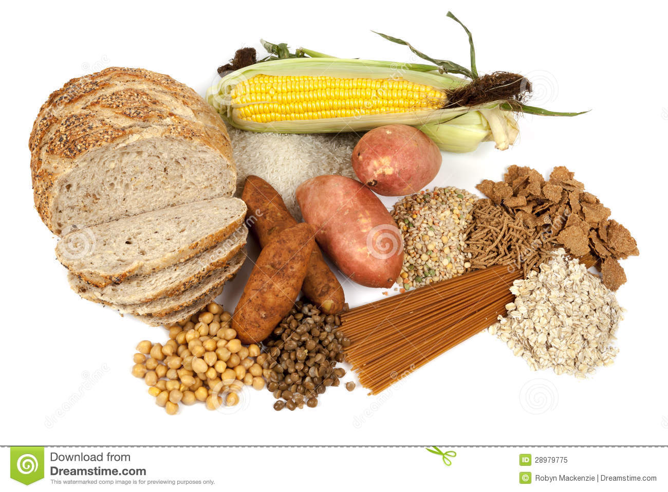 Complex Carbohydrates Food Sources Stock Image - Image