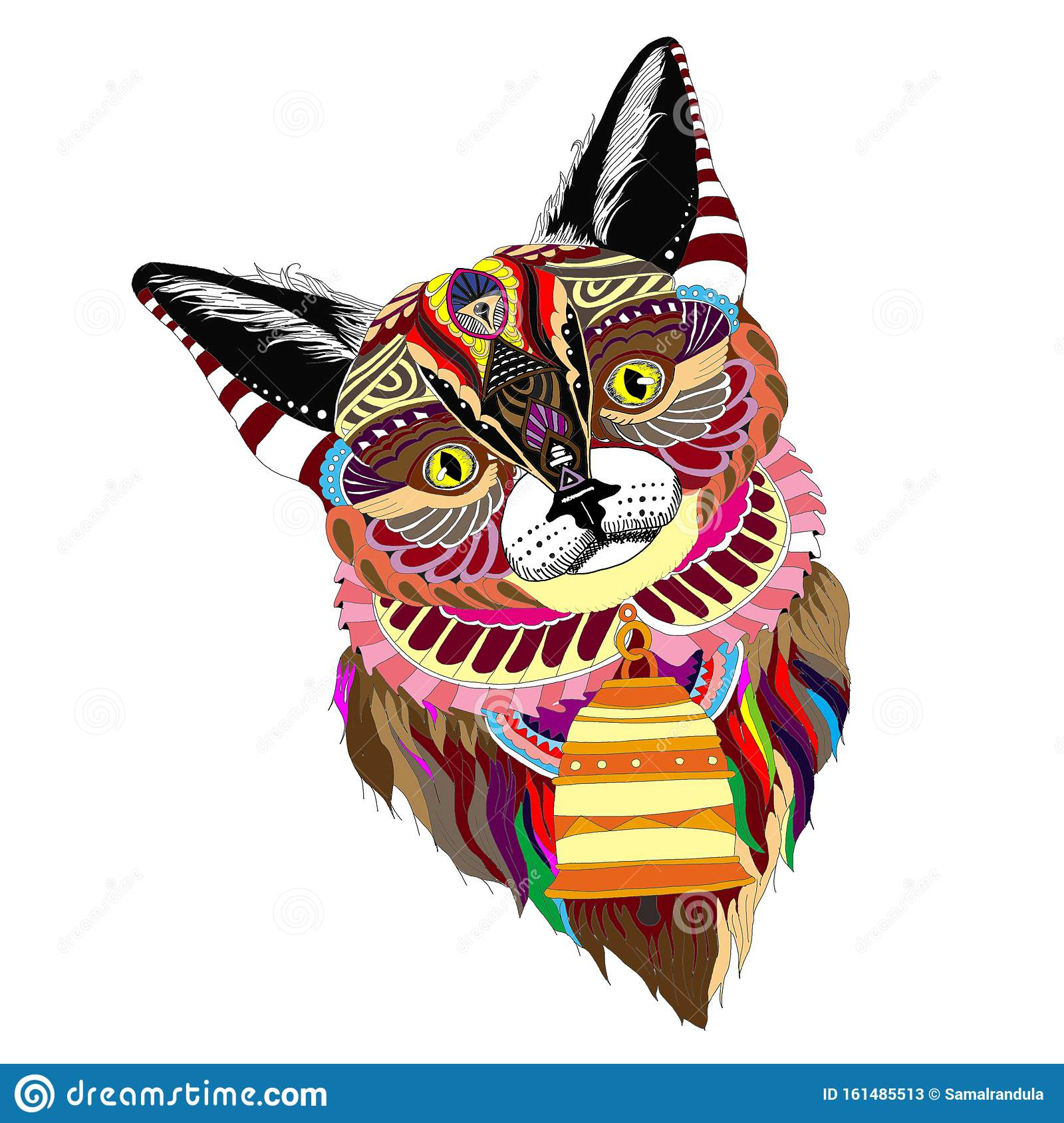 Complex colored cute well design playful Cat vector clipart
