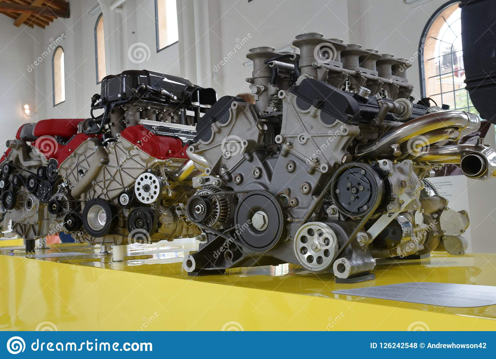 Modena Italy Powerful Ferrari V12 Engines Editorial Stock Photo Image Of Columns Collectible 126242548