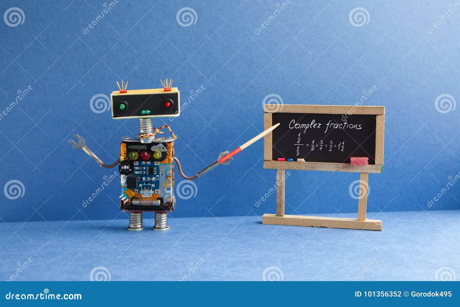 Complex Fractions Math Lesson. Mathematician Robot Teacher With ...