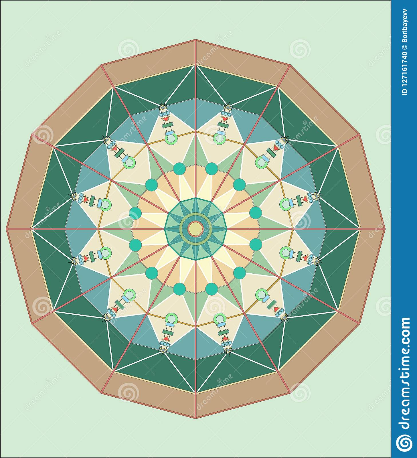 COMPLEX ISLAMIC GEOMETRICAL ORNAMENT IN A CIRCLE