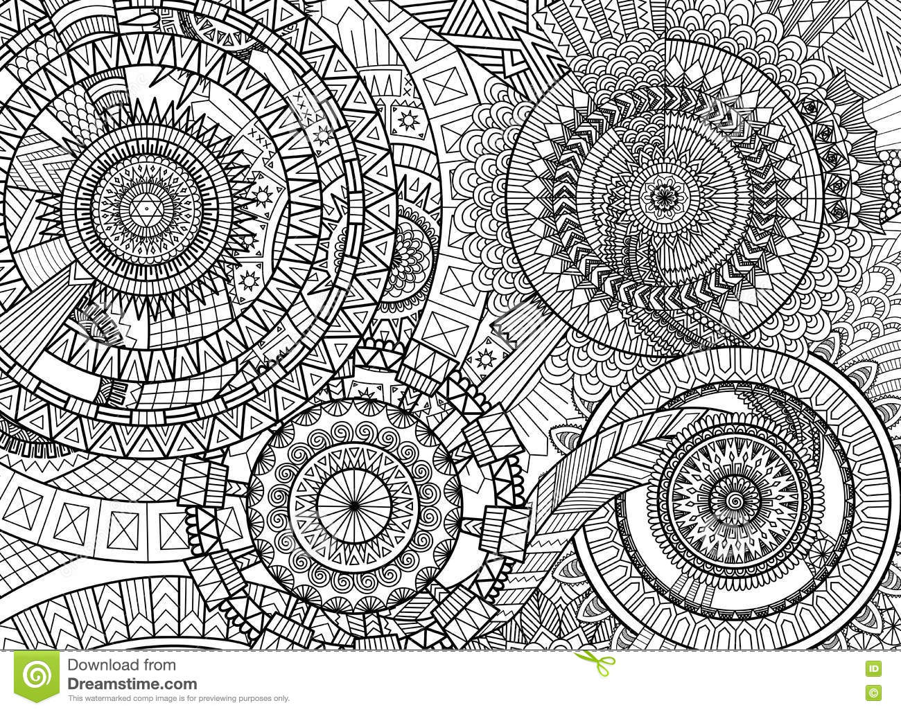 Complex mandala movement design for adult coloring book and background vector illustration - Mandala complexe ...