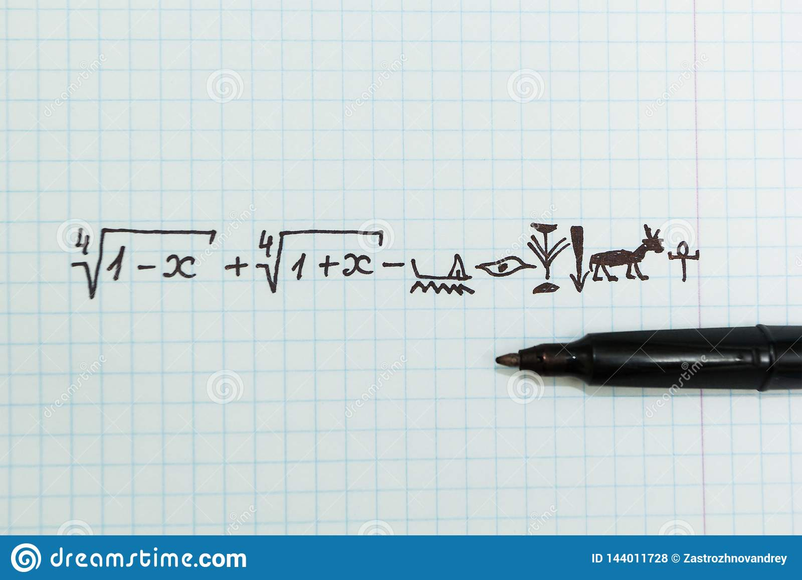Complex mathematical examples in the notebook as Egyptian hieroglyphs