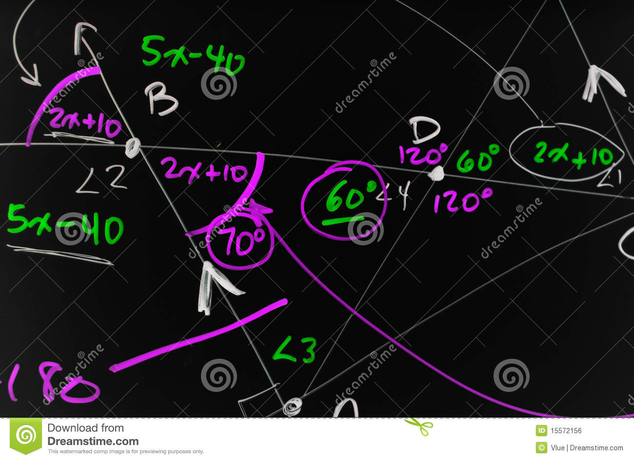 Several complex mathematical formulas, equations, and geometry written ...