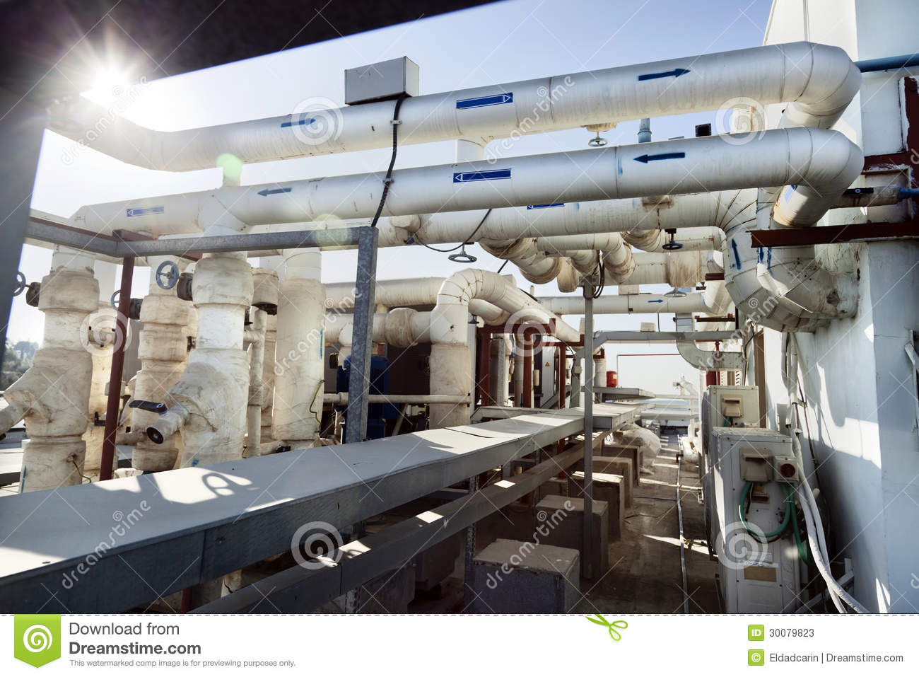 Water Building Material : Industrial rooftop pipes stock image of
