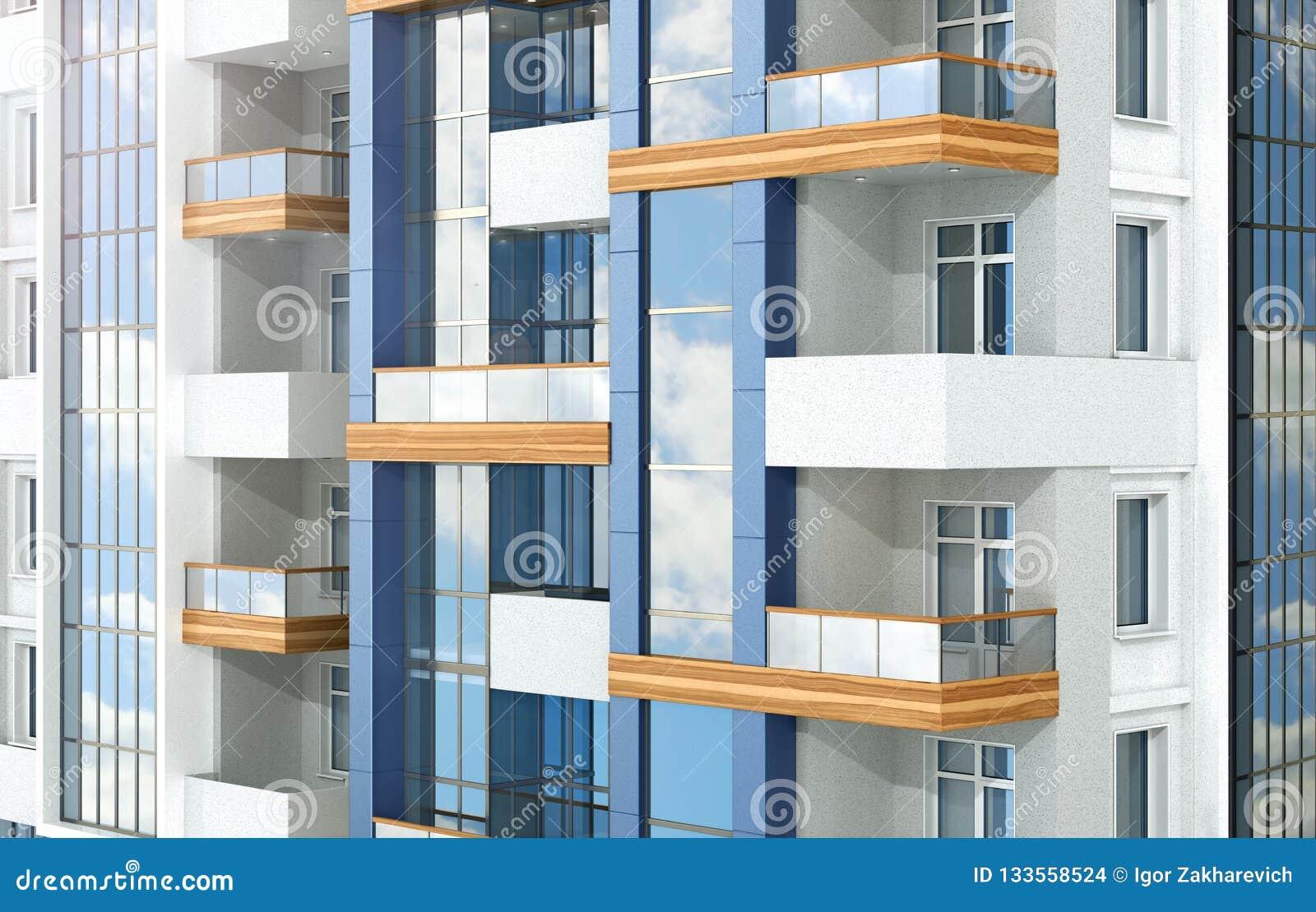 Complexo residencial moderno europeu outdoors