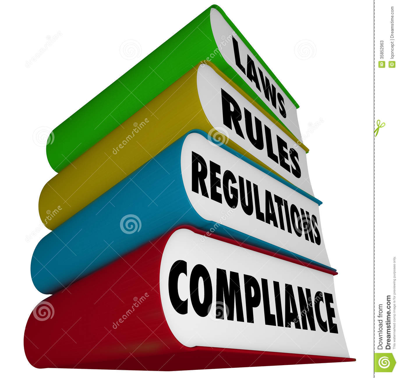 Compliance Rules Laws Regulations Stack Of Books Manuals Stock Photos ...