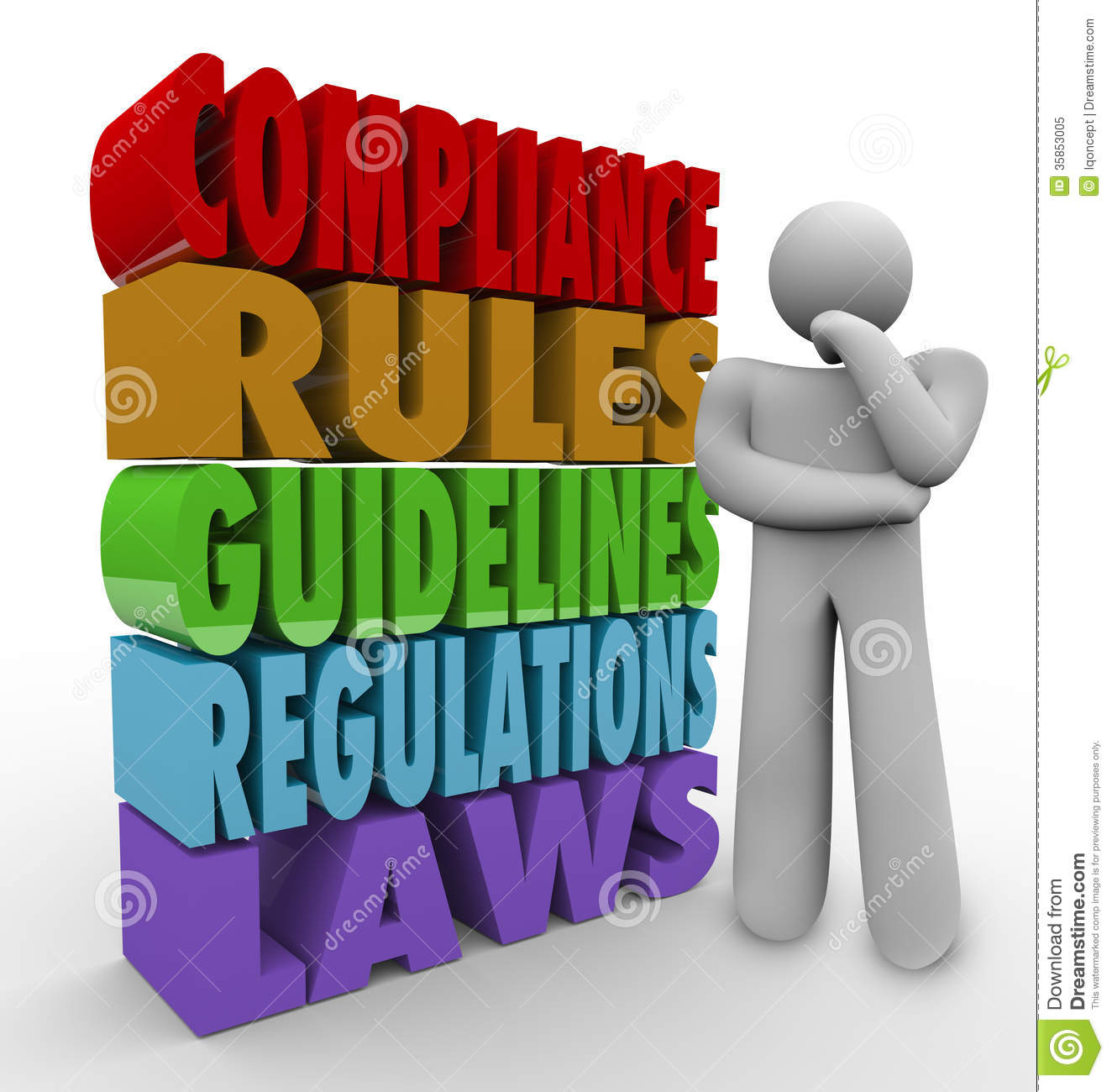 The words compliance rules guidelines regulations and laws