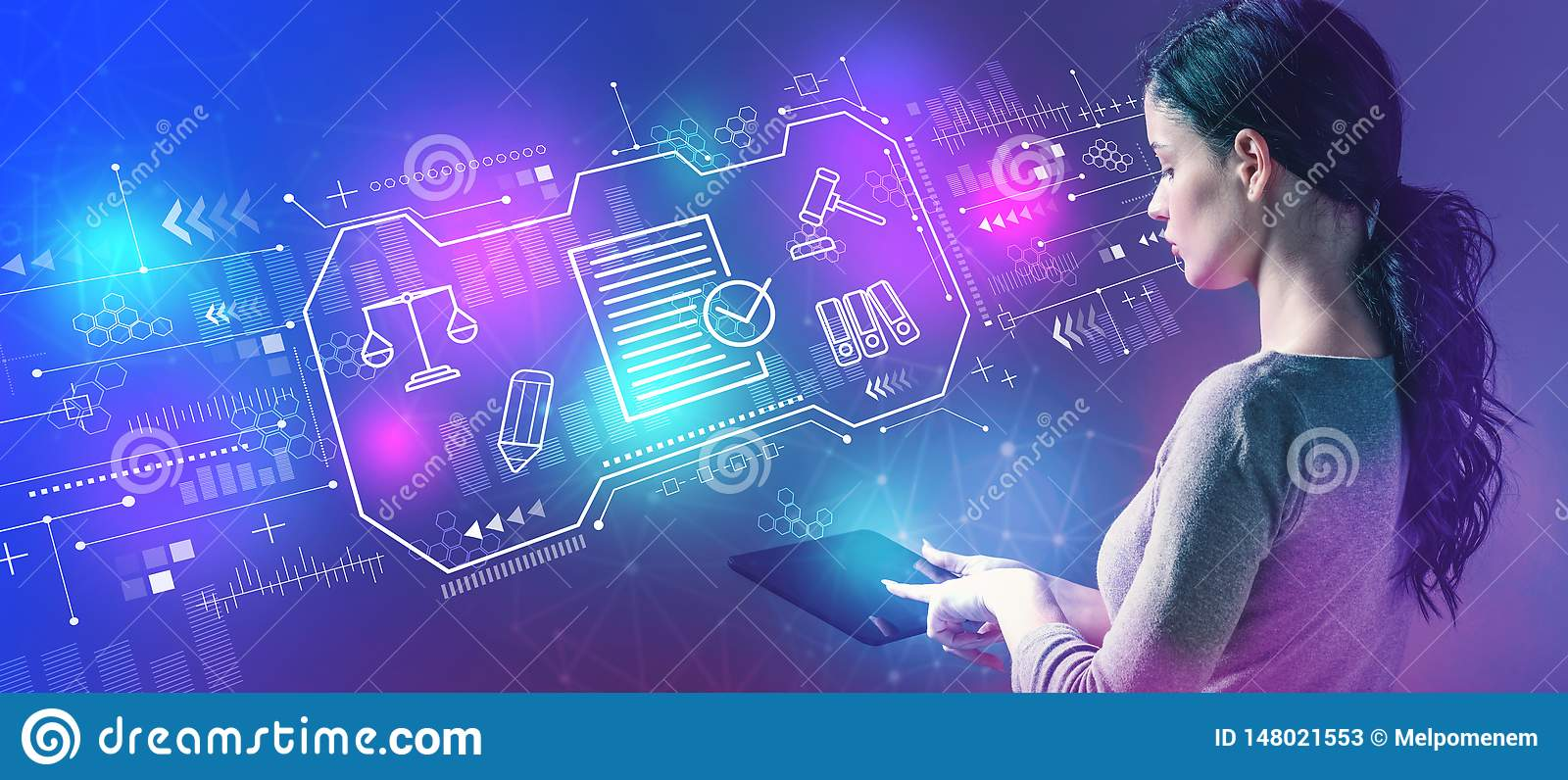 Compliance theme with woman using a tablet