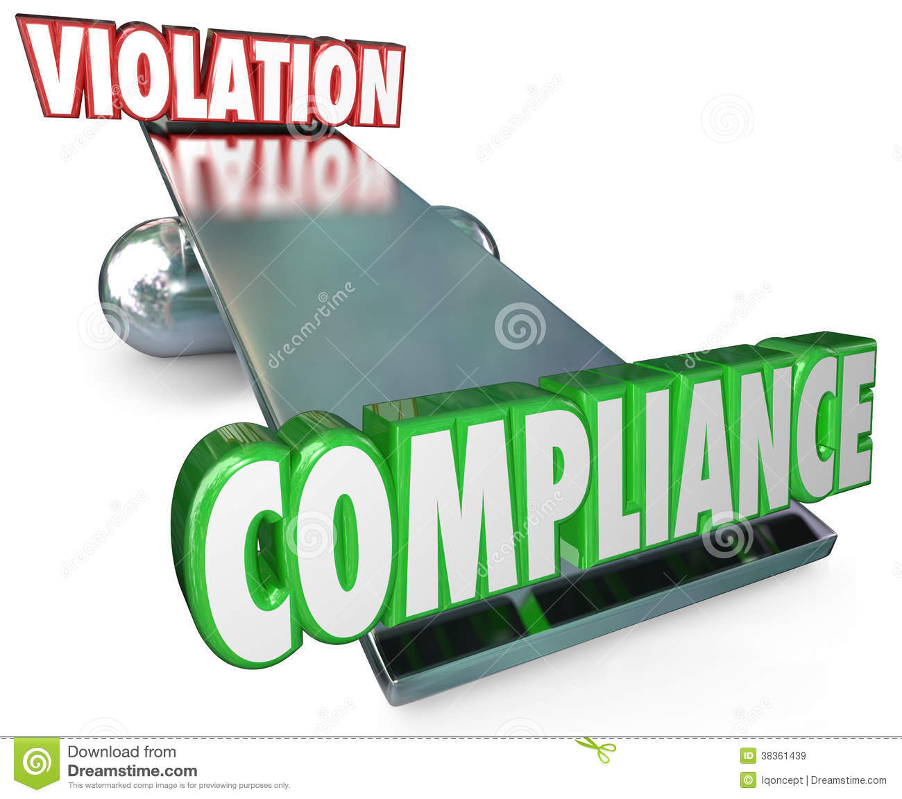 Compliance word outweighs Violation on a see-saw, balance or scale to ...