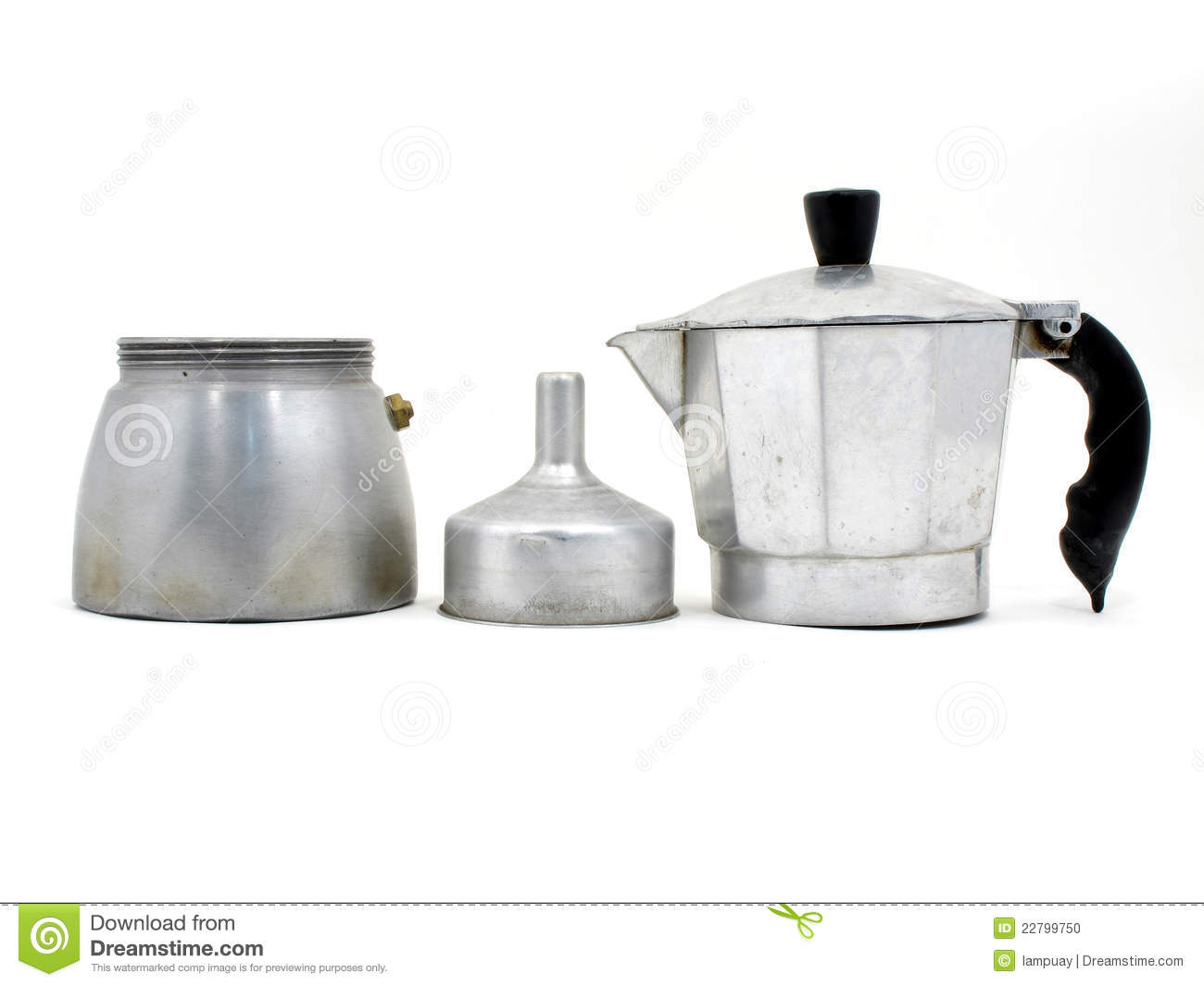 Map Italian Coffee Maker : Component Of Italian Coffee Maker Stock Photo - Image: 22799750
