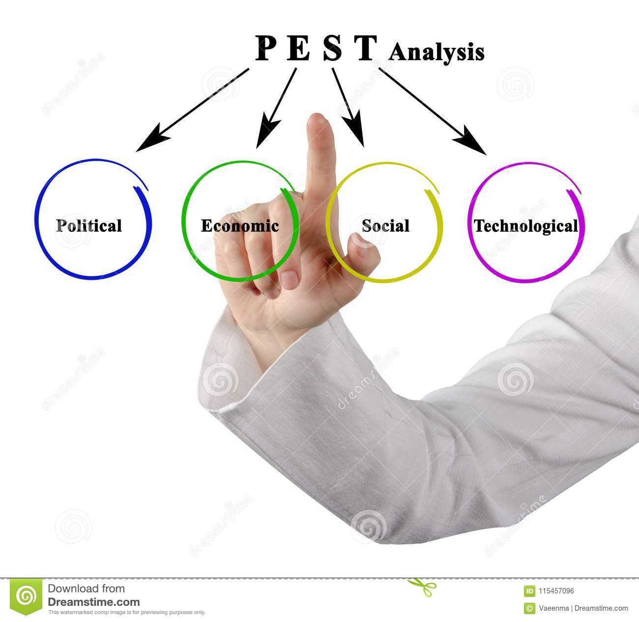 Components Of PEST Analysis Stock Photo - Image of diagram