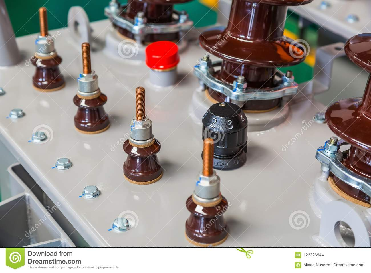 Components On Transformer Tank Cover Stock Photo - Image of changer