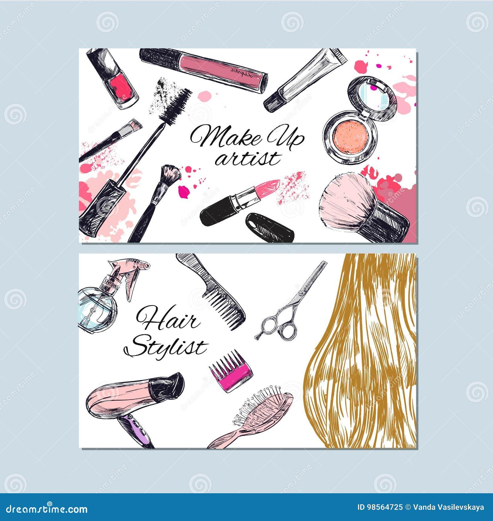 Componga las tarjetas del artista y de visita del estilista Belleza y moda, drenaje de la mano del vector