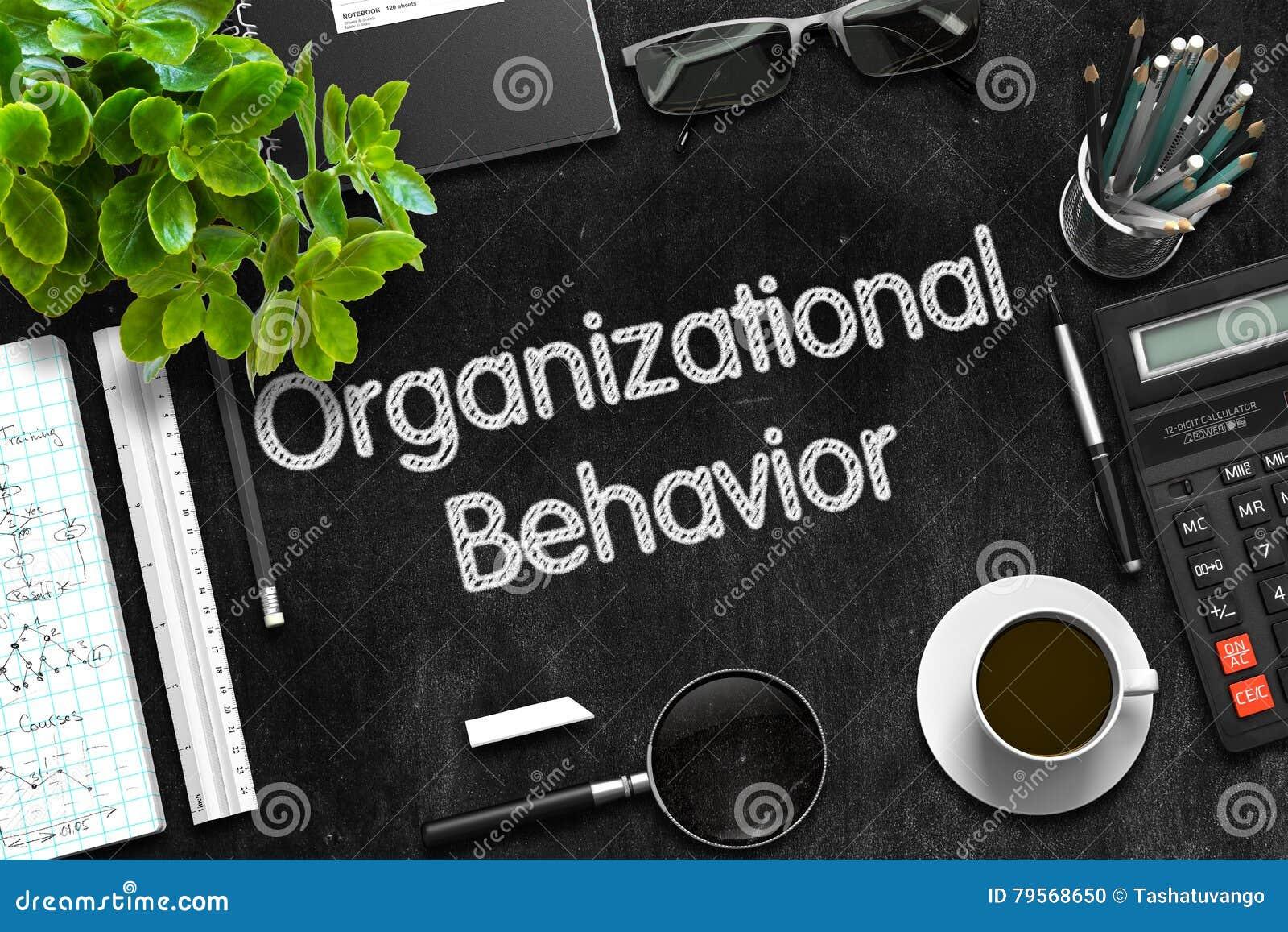 Comportamento organizzativo sulla lavagna nera rappresentazione 3d