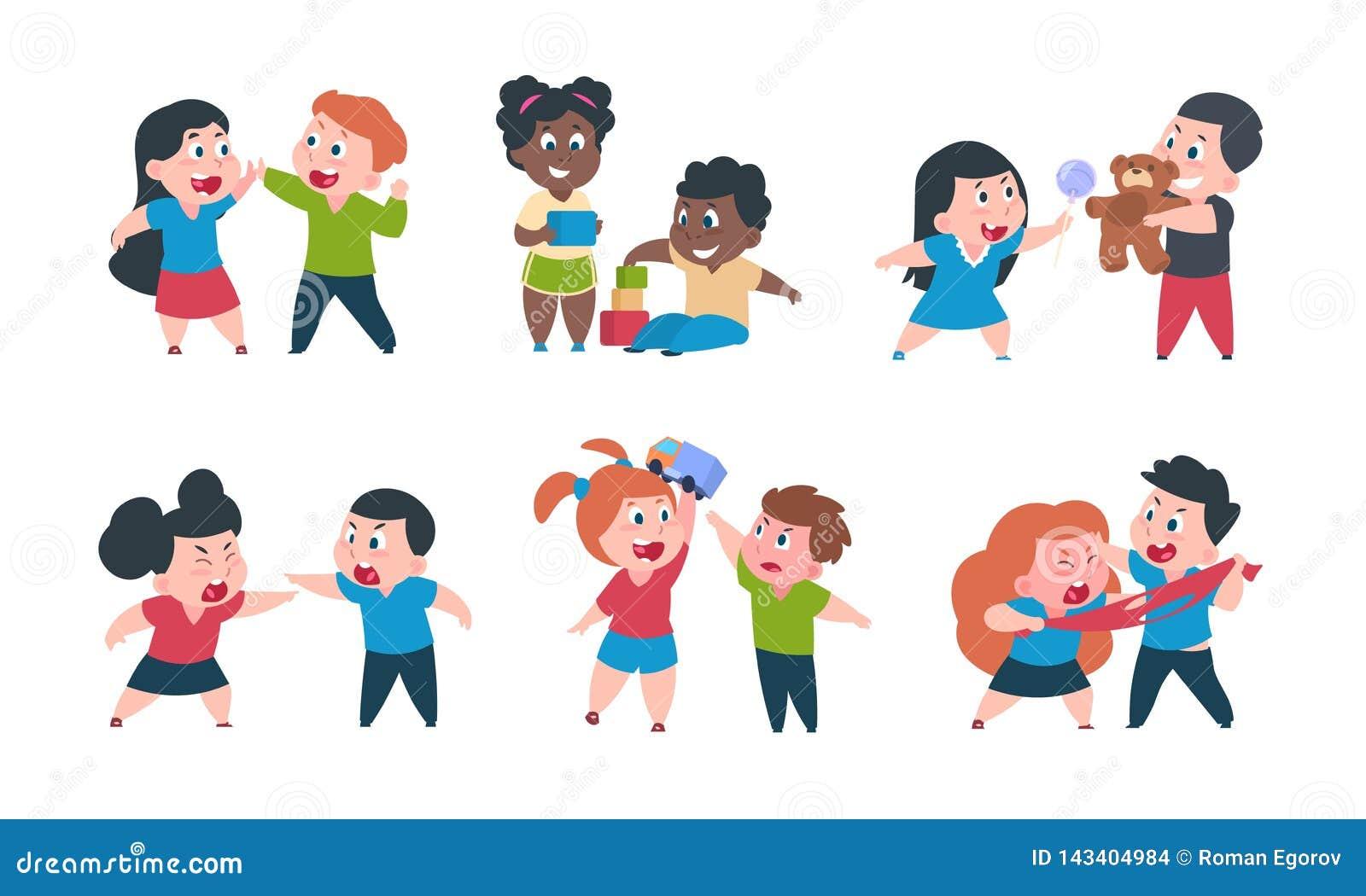 Comportement d enfants Jeu cray de combat de frère et de soeur de bande dessinée, caractères heureux de fille mignonne de petit g