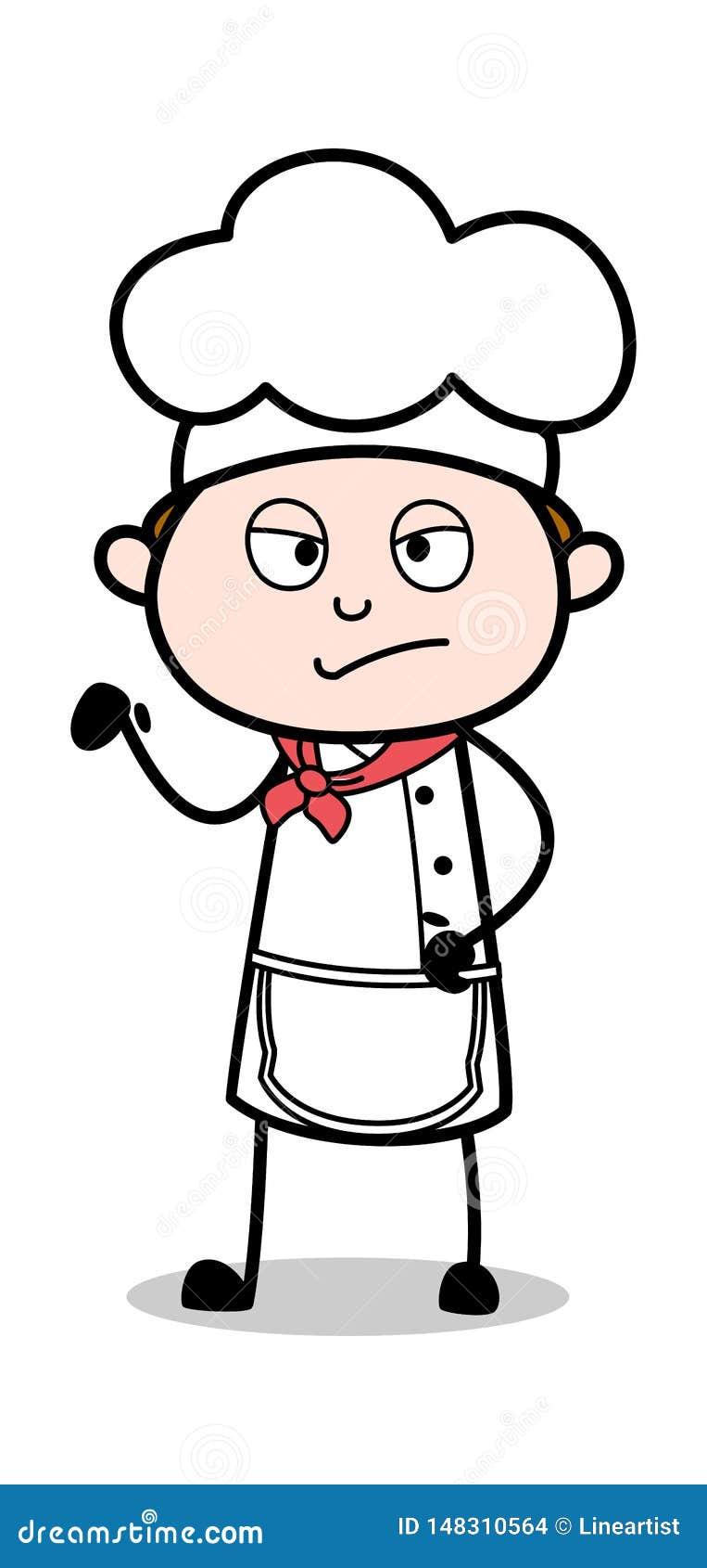 Comportement grossier - illustration de Male Chef Vector de serveur de bande dessinée