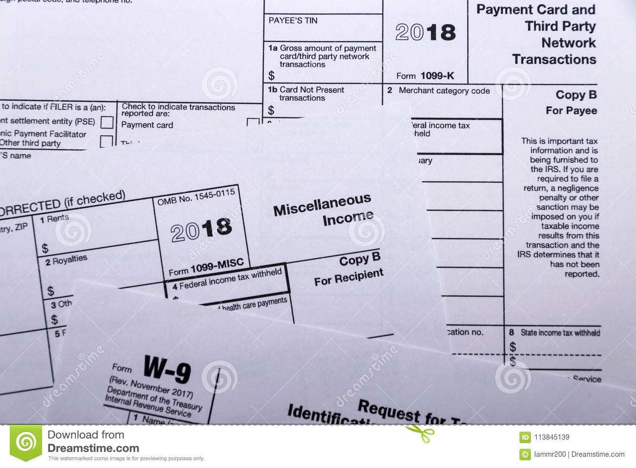 Shot of IRS tax forms 1099-M, 1099-K and W-9