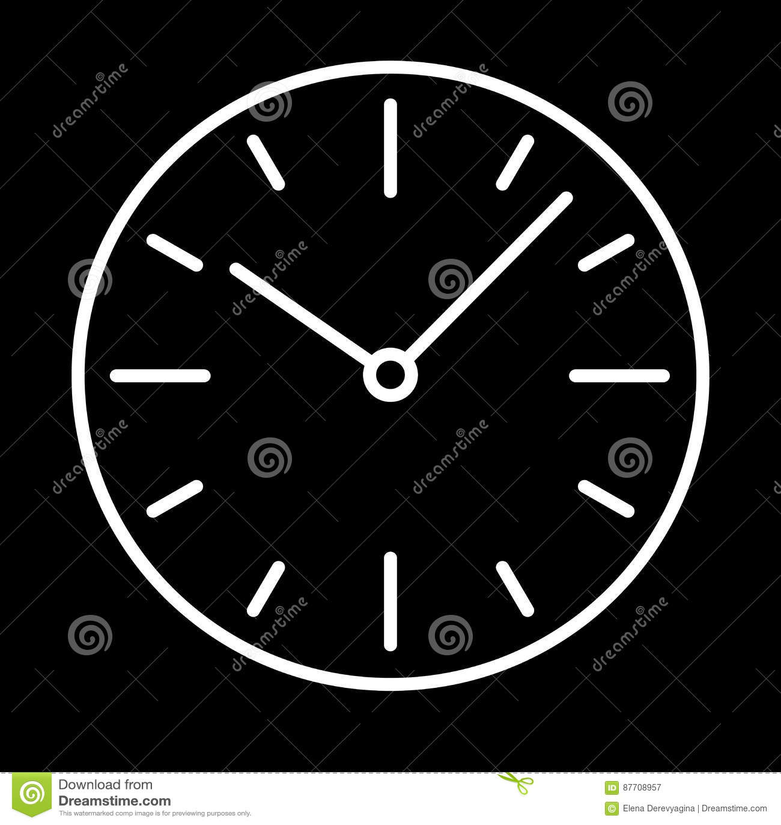 Composez la découpe blanche d icône d horloge de commutateurs sur le fond noir de