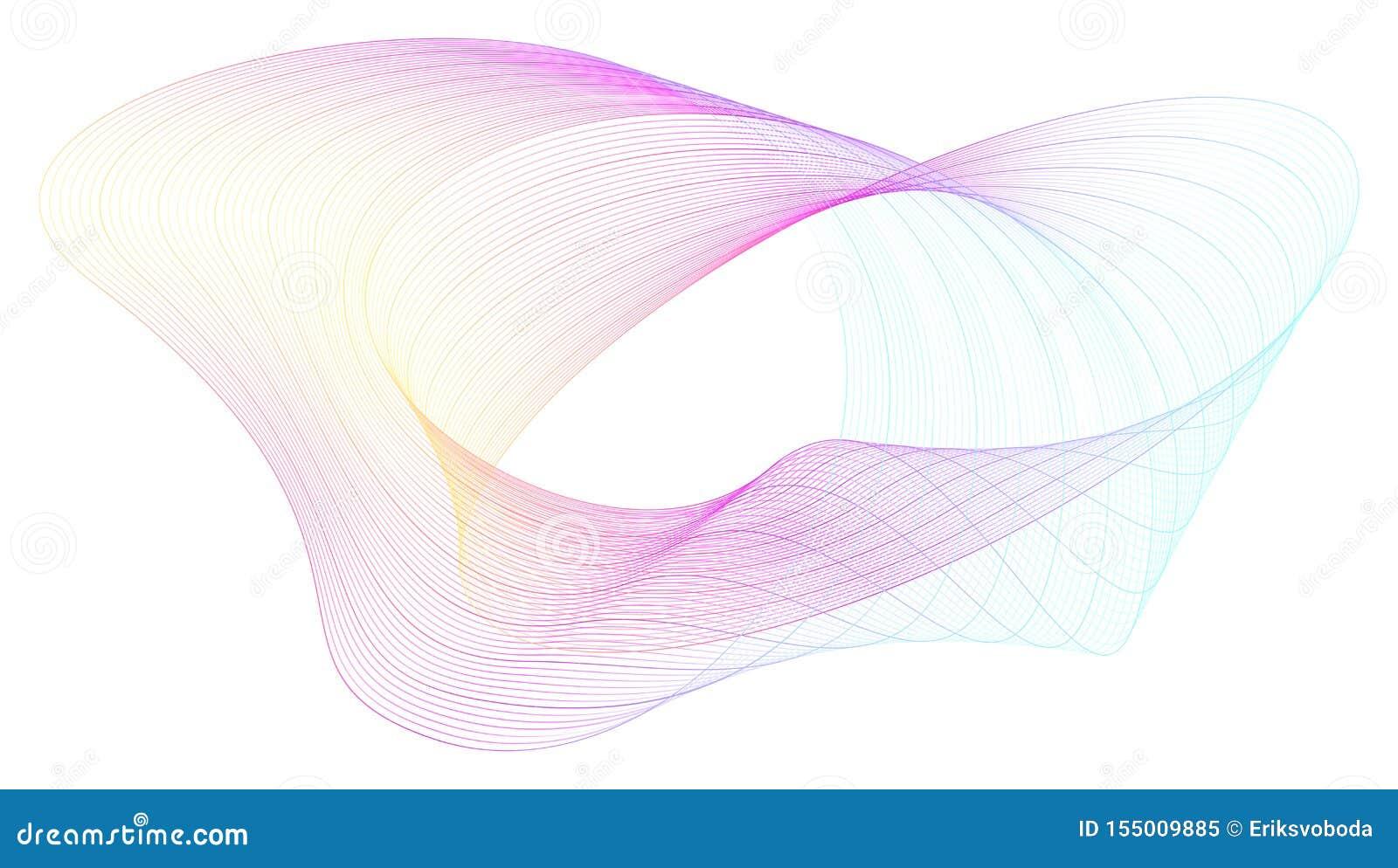 Composição abstrata com linhas coloridas torcidas Ondas de fluxo dinâmicas radiais Conceito dos gráficos do fluxo, música