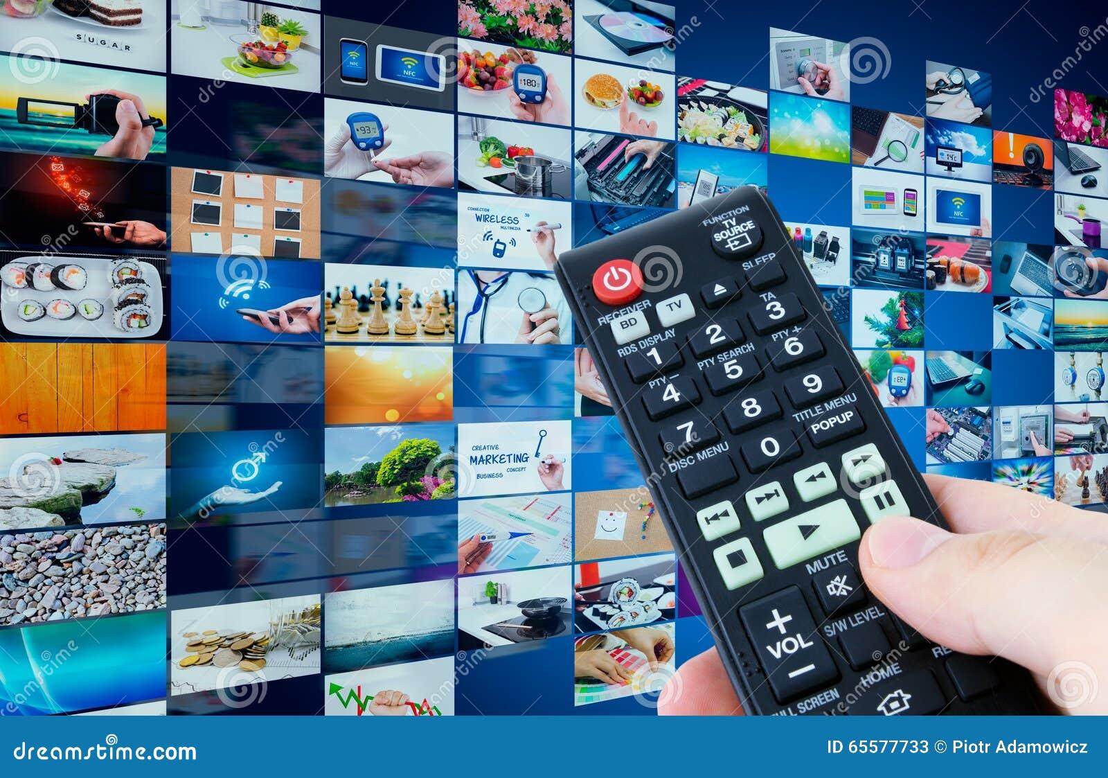 Composição abstrata dos multimédios da transmissão da televisão