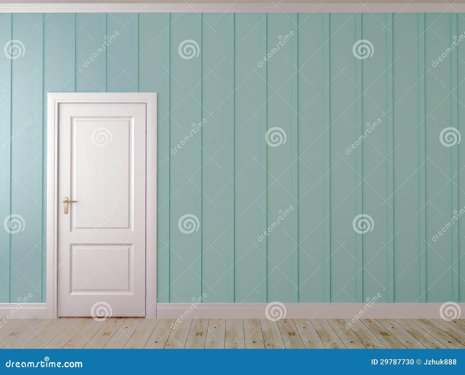 Parede azul com uma porta