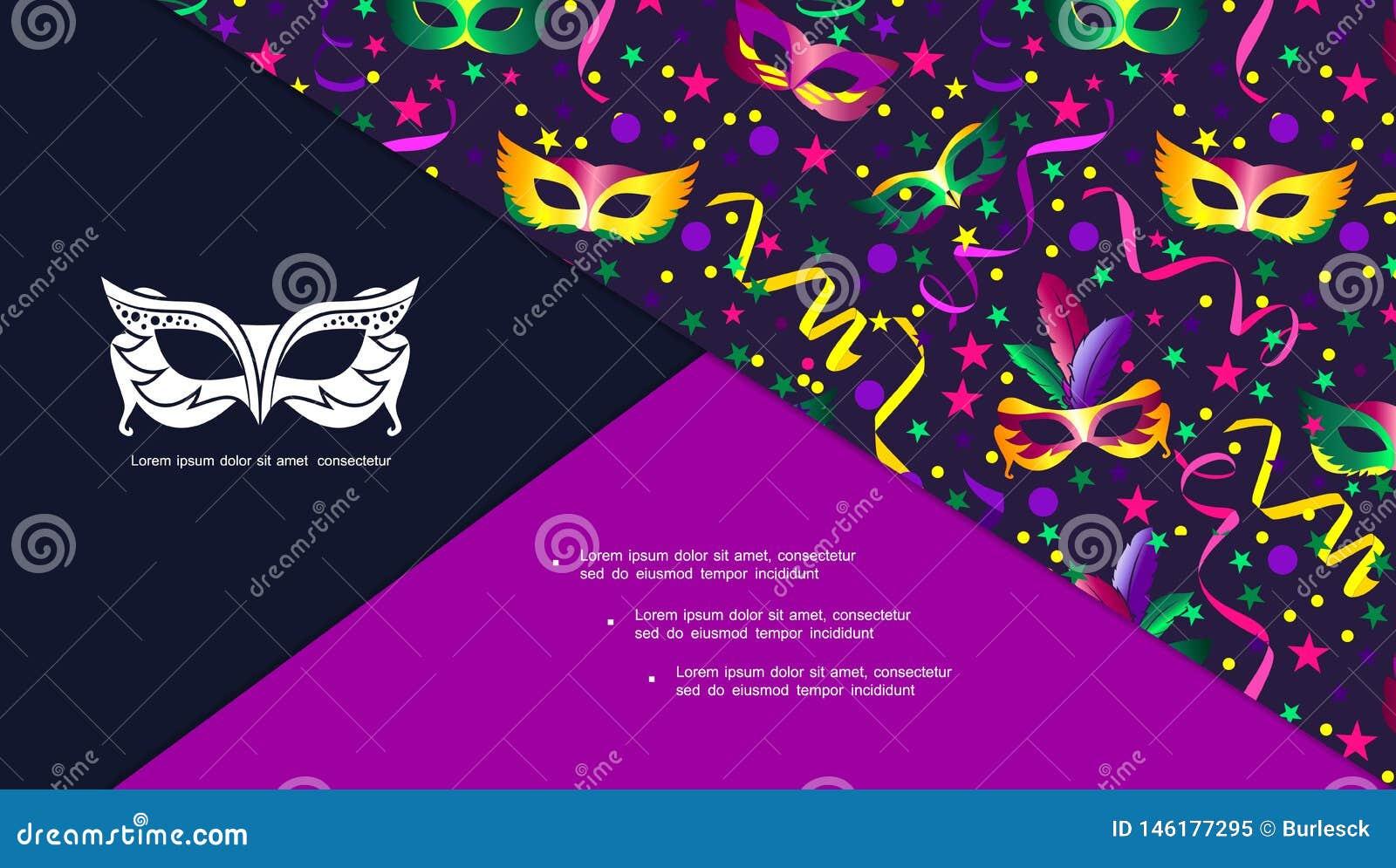 Composição Brilhante Colorida Do Carnaval Dos Desenhos
