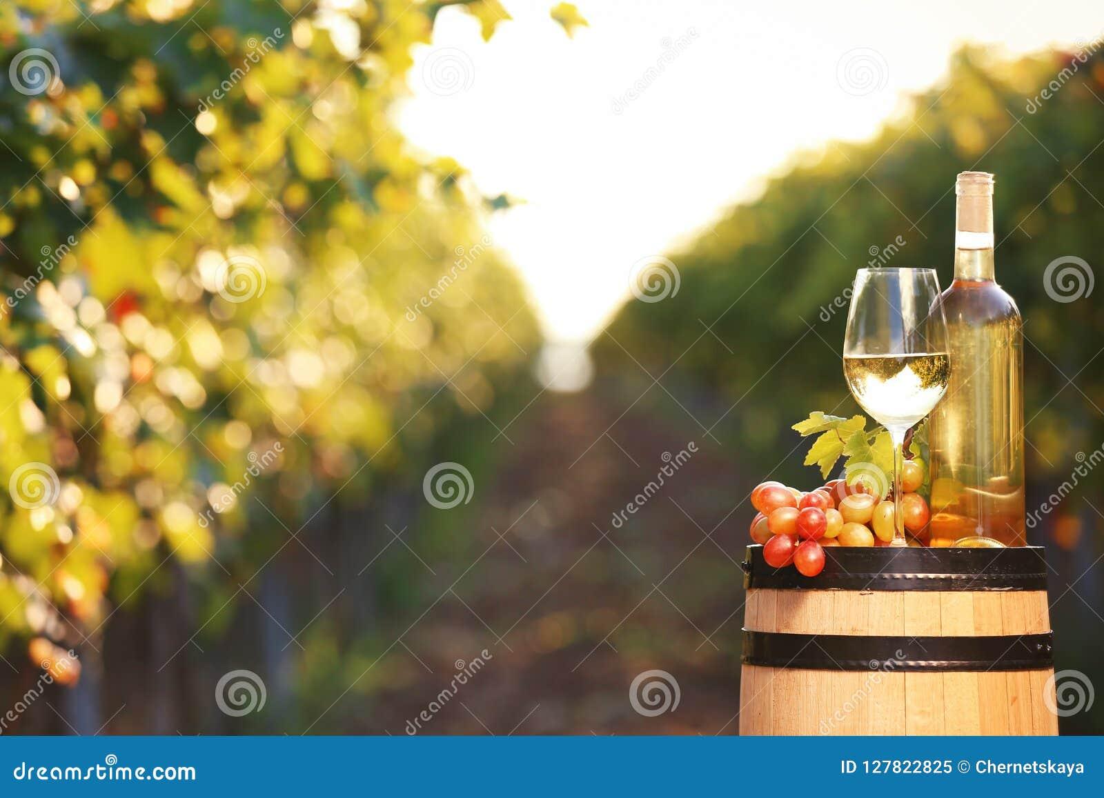 Composição com vinho e as uvas maduras no tambor fora