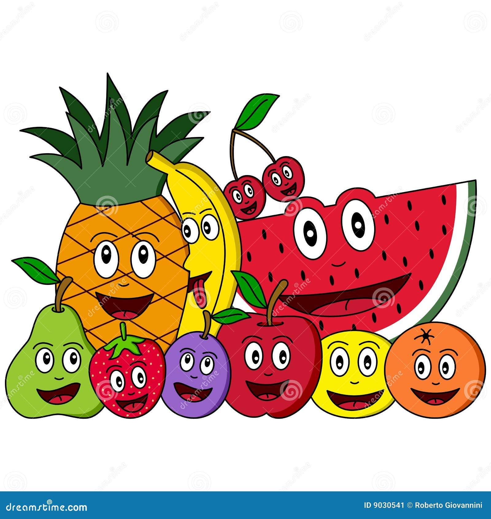 Composição da fruta dos desenhos animados