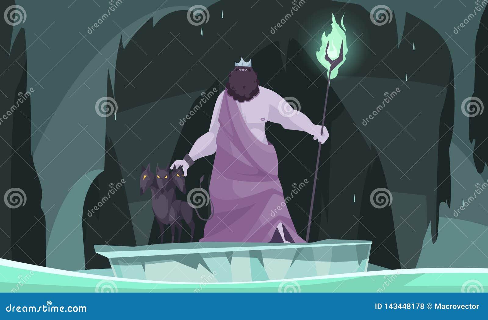 Composicao De Hades Dos Deuses De Grecia Ilustracao Do Vetor