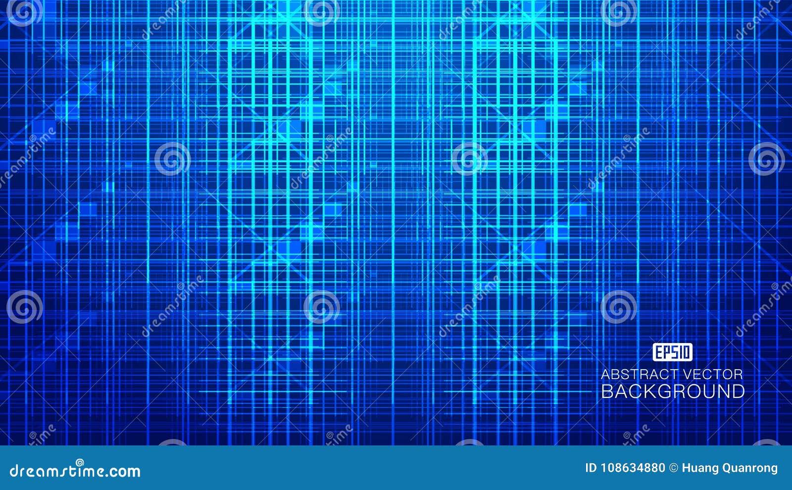 A composição de incandescência azul da tecnologia que consiste em raios, linhas abstrai o fundo do vetor