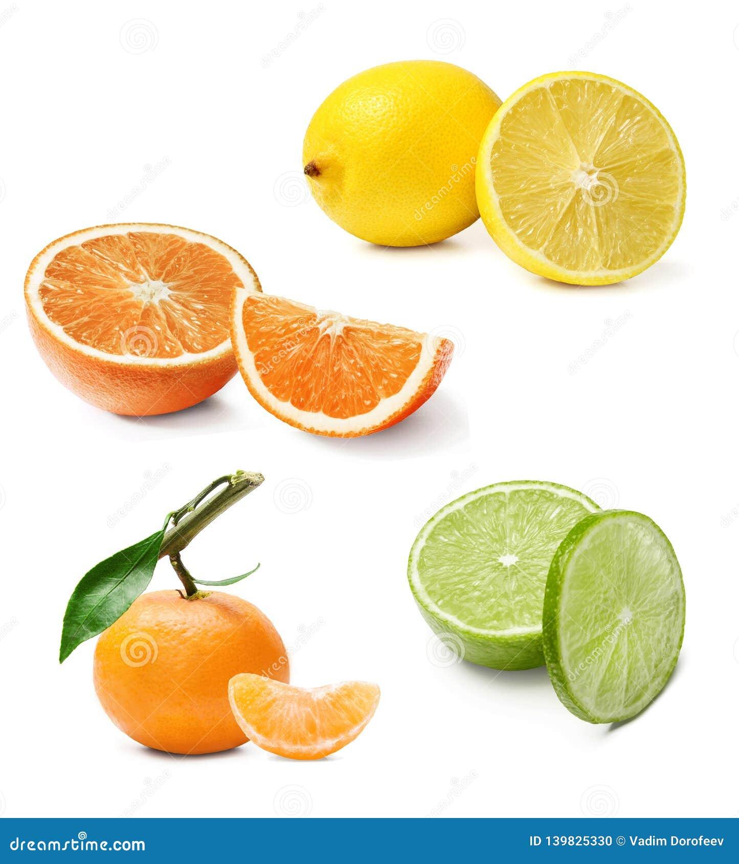 A composição do citrino diferente Laranja, limão, cal, tangerina Fundo isolado branco