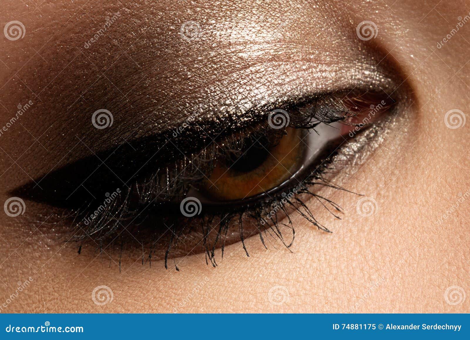 Composição do olho de Brown Composição dos olhos Valor máximo de concentração no trabalho bonito do estilo do vintage dos olhos