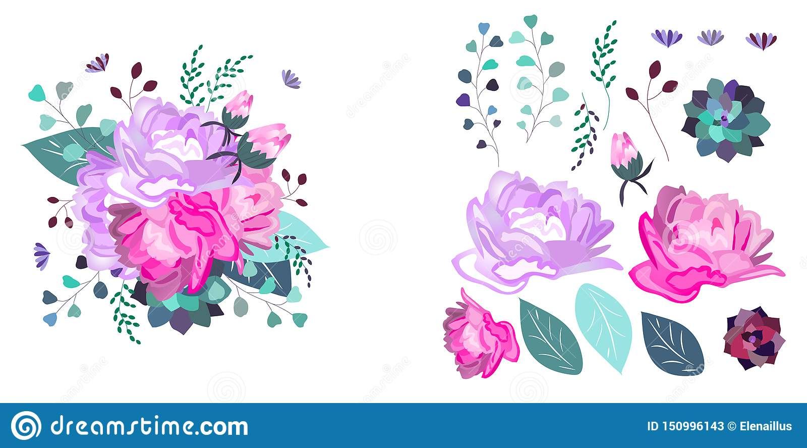 Composição floral do vetor e objetos isolados verão, mola, projeto da celebração