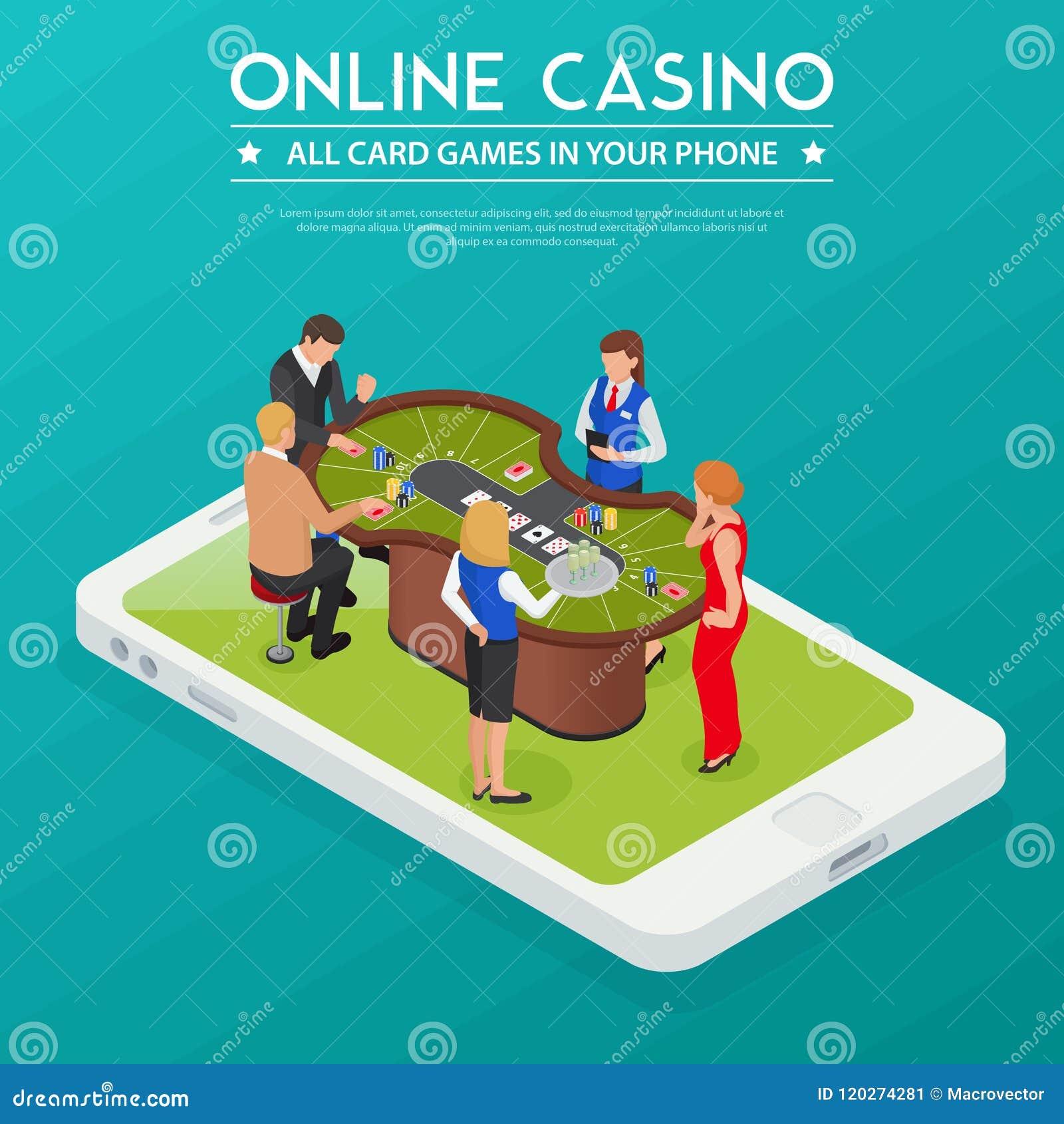 Composição isométrica em linha do casino
