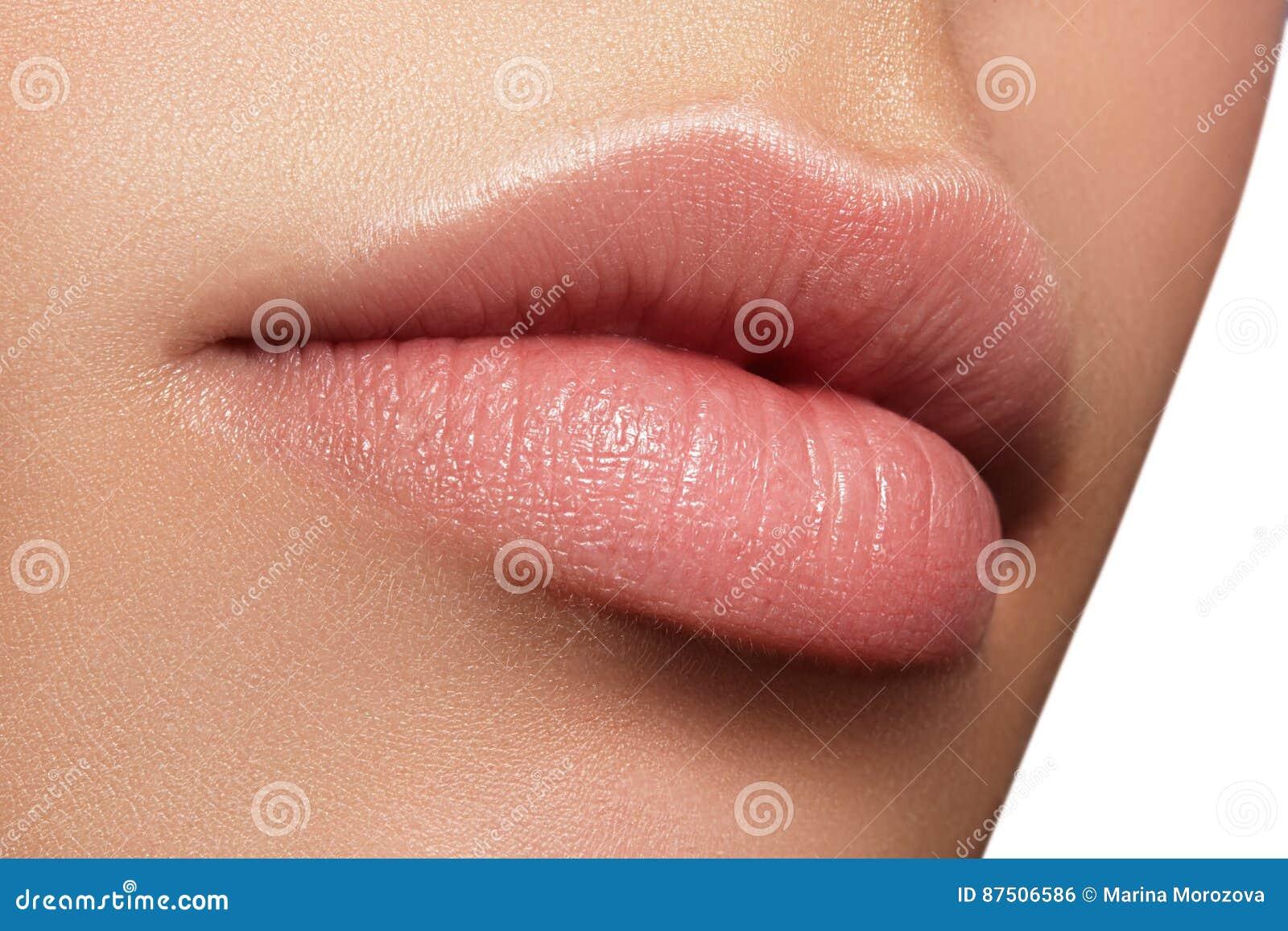 Composição natural perfeita do bordo do close up Bordos completos gordos bonitos na cara fêmea Limpe a pele, composição fresca Bo