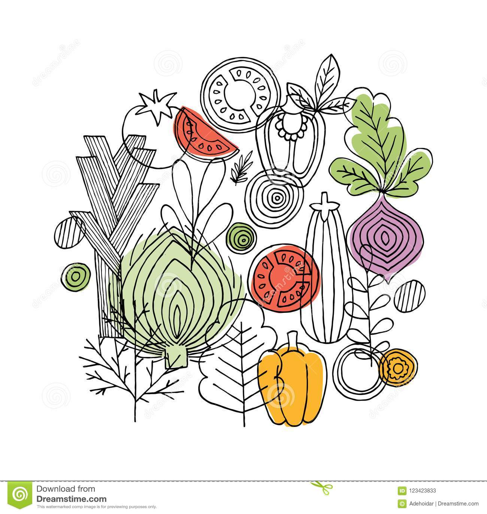 Composição redonda dos vegetais Gráfico linear Fundo dos vegetais Estilo escandinavo Alimento saudável Ilustração do vetor