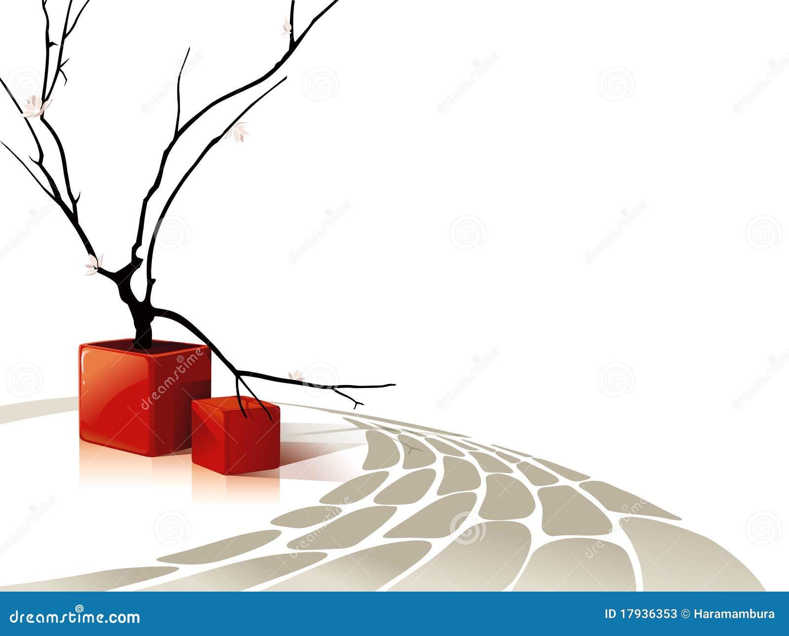 Composición abstracta con los cubos rojos