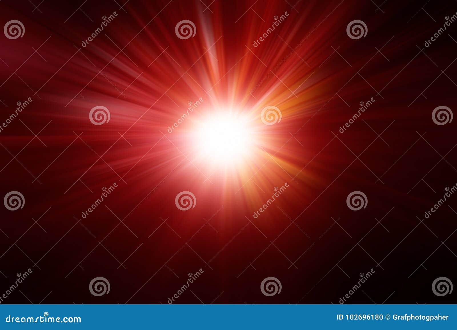 Composición borrosa con el ligh de destello radial de los rayos ligeros