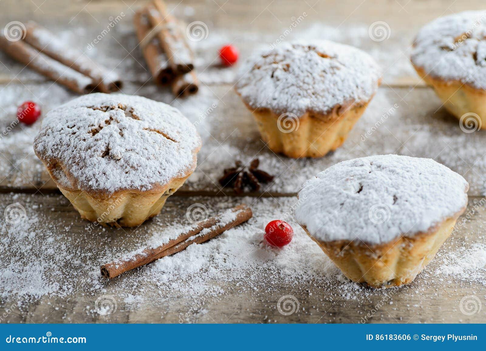 Composición de los alimentos del invierno de la Navidad: tortas en azúcar de formación de hielo con el arándano y el canela