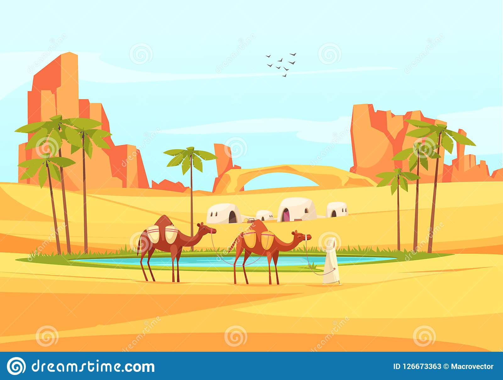 Composición de los camellos del oasis del desierto