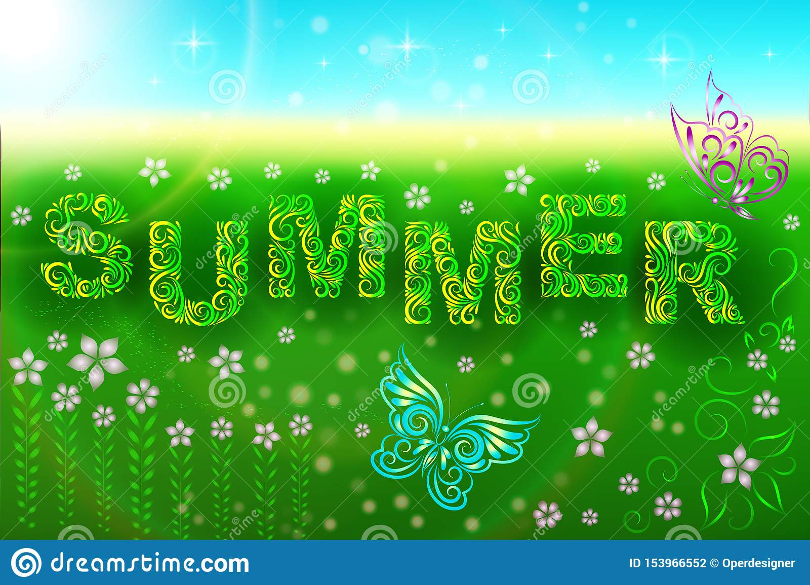 Composición del verano: el verano, las mariposas y las flores de la inscripción en el prado Hola verano Campo Relajaci?n