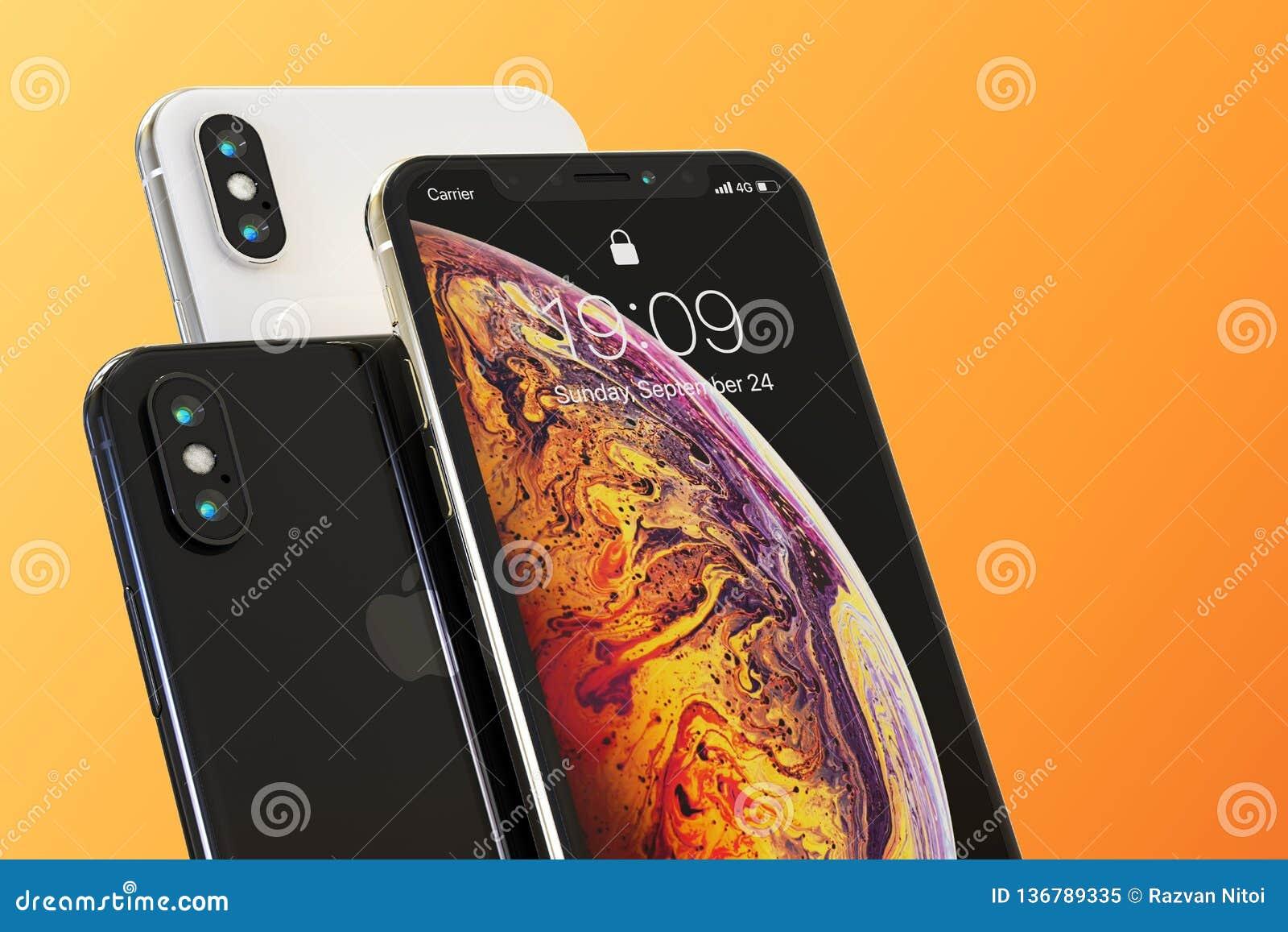 Composición elegante de 3 de Apple teléfonos del iPhone XS