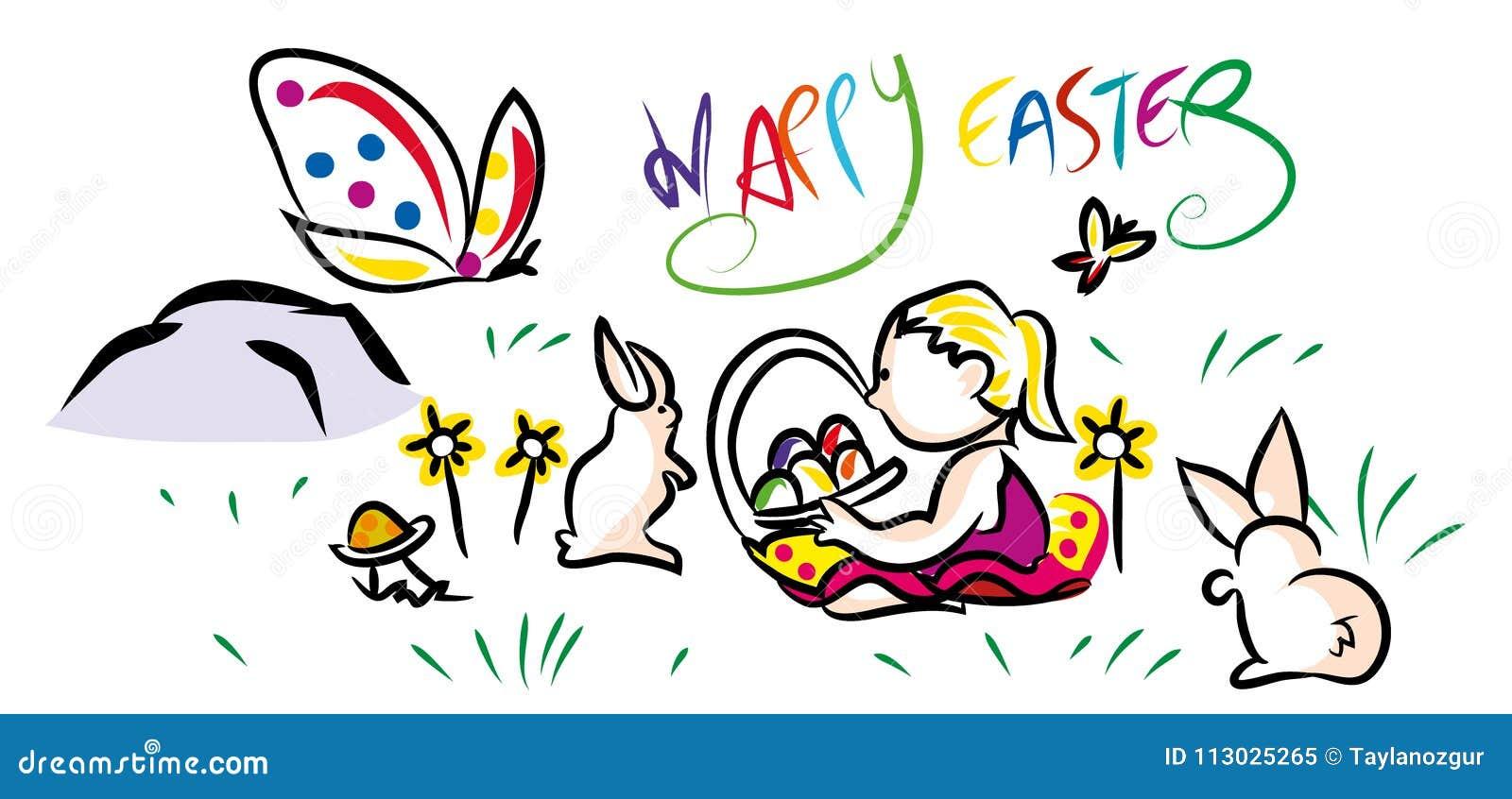 Composición feliz colorida de la tarjeta de felicitación de Pascua