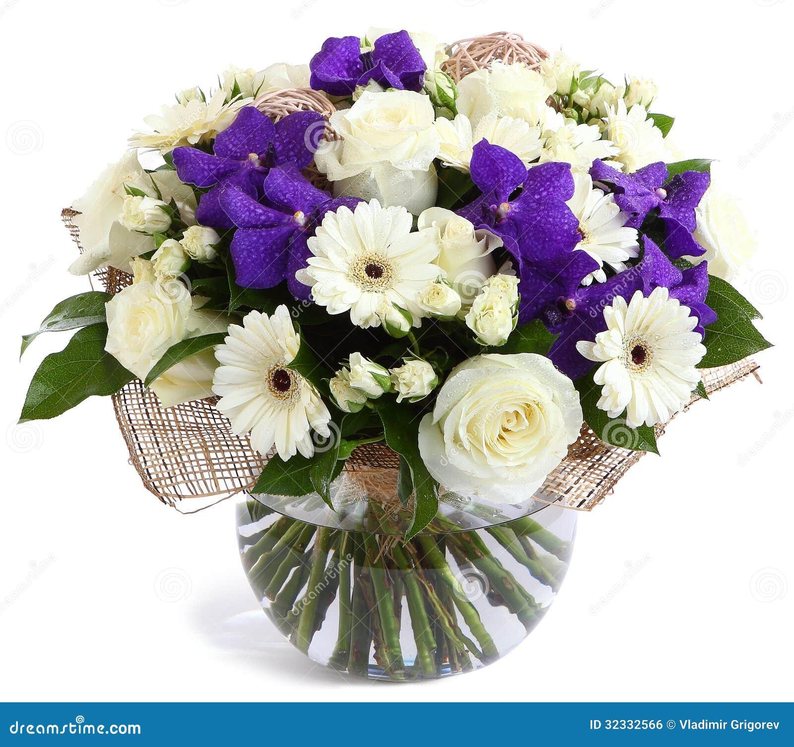 Composición Floral En El Vidrio Florero Transparente Rosas