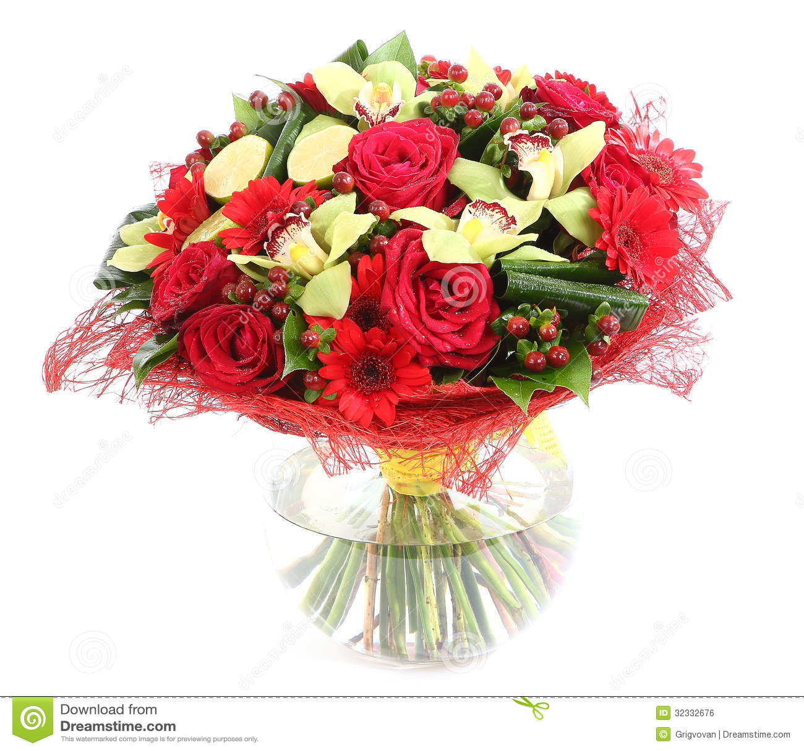 Composicion Floral En El Vidrio Florero Transparente Rosas Rojas